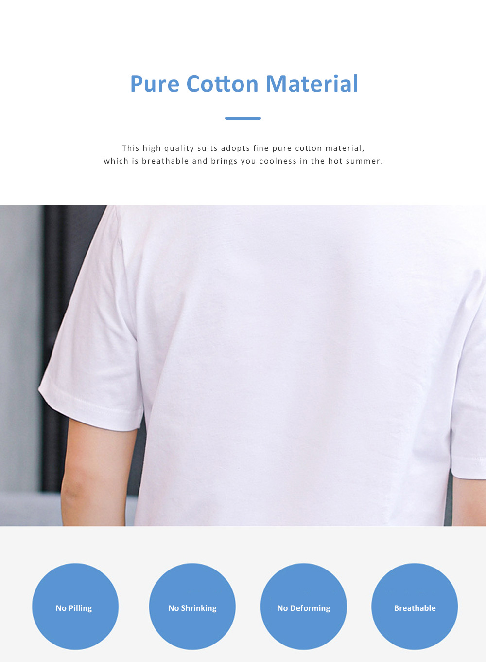 2019 New Style Casual Men's Short Sleeve T-shirt with Round Collar, Fashionable and Durable Cotton Material Top 1