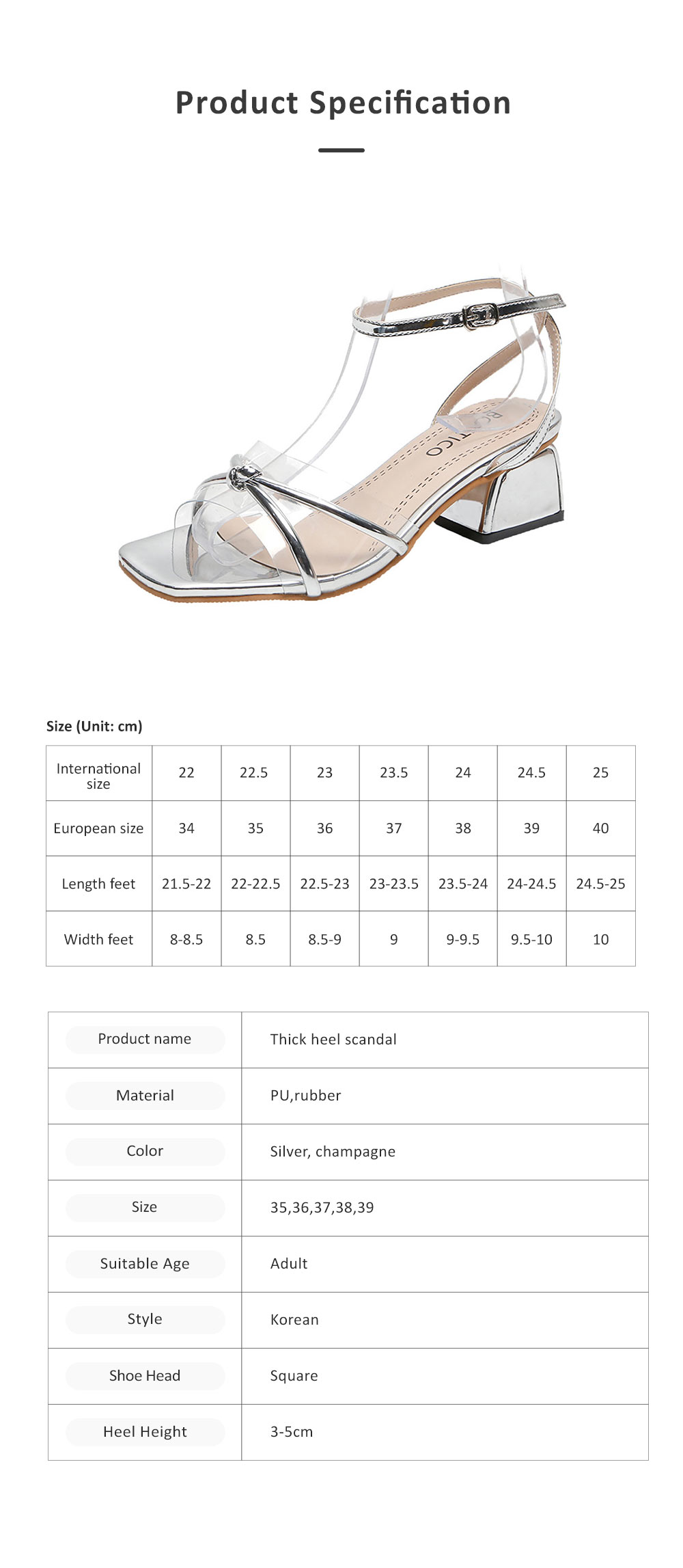 Medium-Height Thick Heel Scandal Transparent Fashion Cross Design PU Rubber Open Toe Shoe with Square Head For Women 7