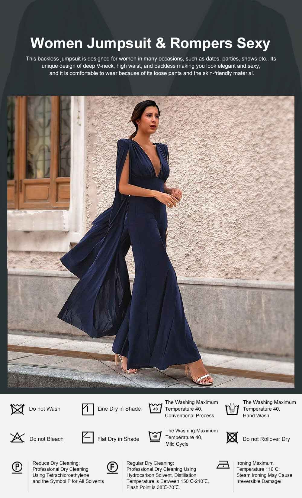 2019 Backless Jumpsuit For Lady, Women's Fashion Sexy Party Evening Bodysuits Rompers, Long Sleeve and Loose Trousers 0