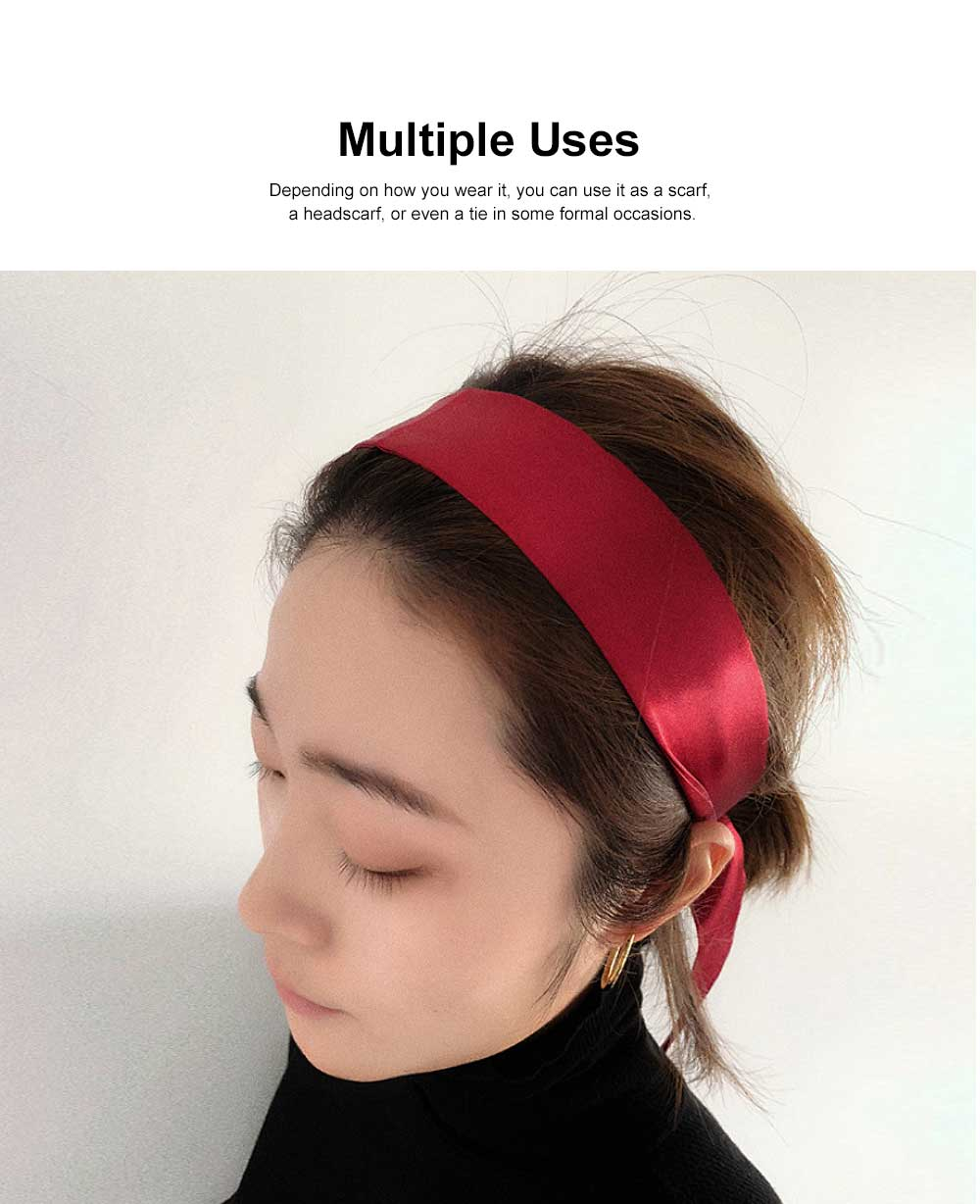 Multiple Uses Scarf for Women Used as Hair Band or Tie, Casual Scarf with Bright Pure Color 3