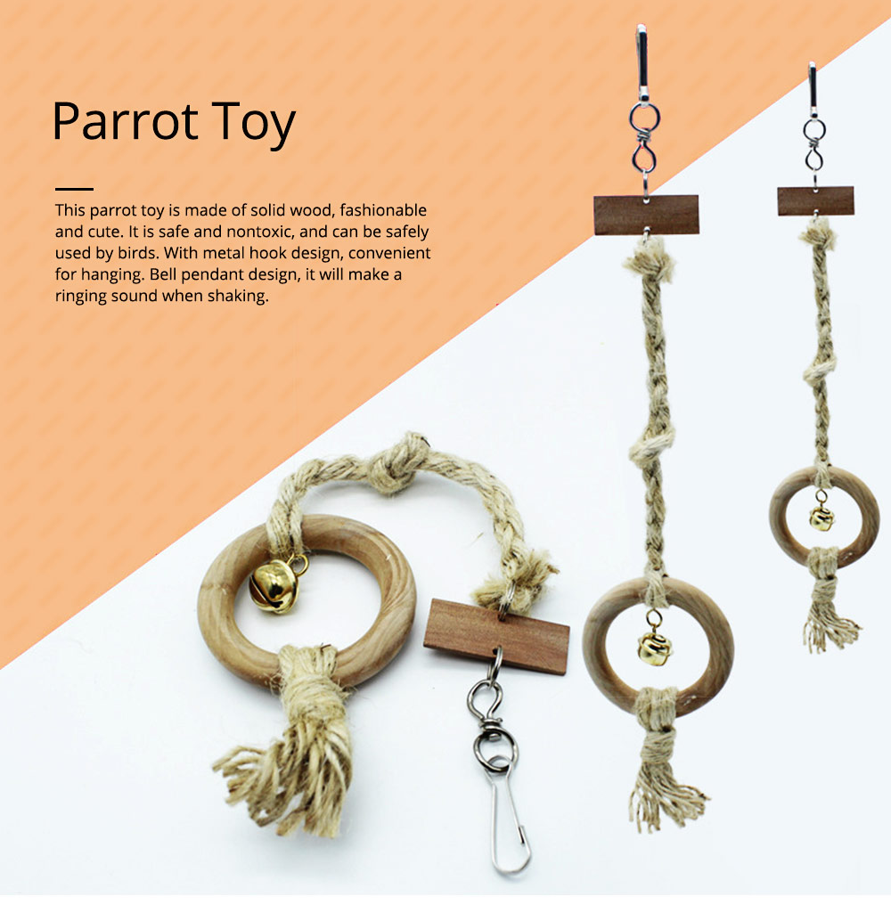 Parrot Toy Wooden Swing Rope Ladder Bell Ring Tiger Peony Metal Hook Hanging Toy Accessories Bird Toy 0
