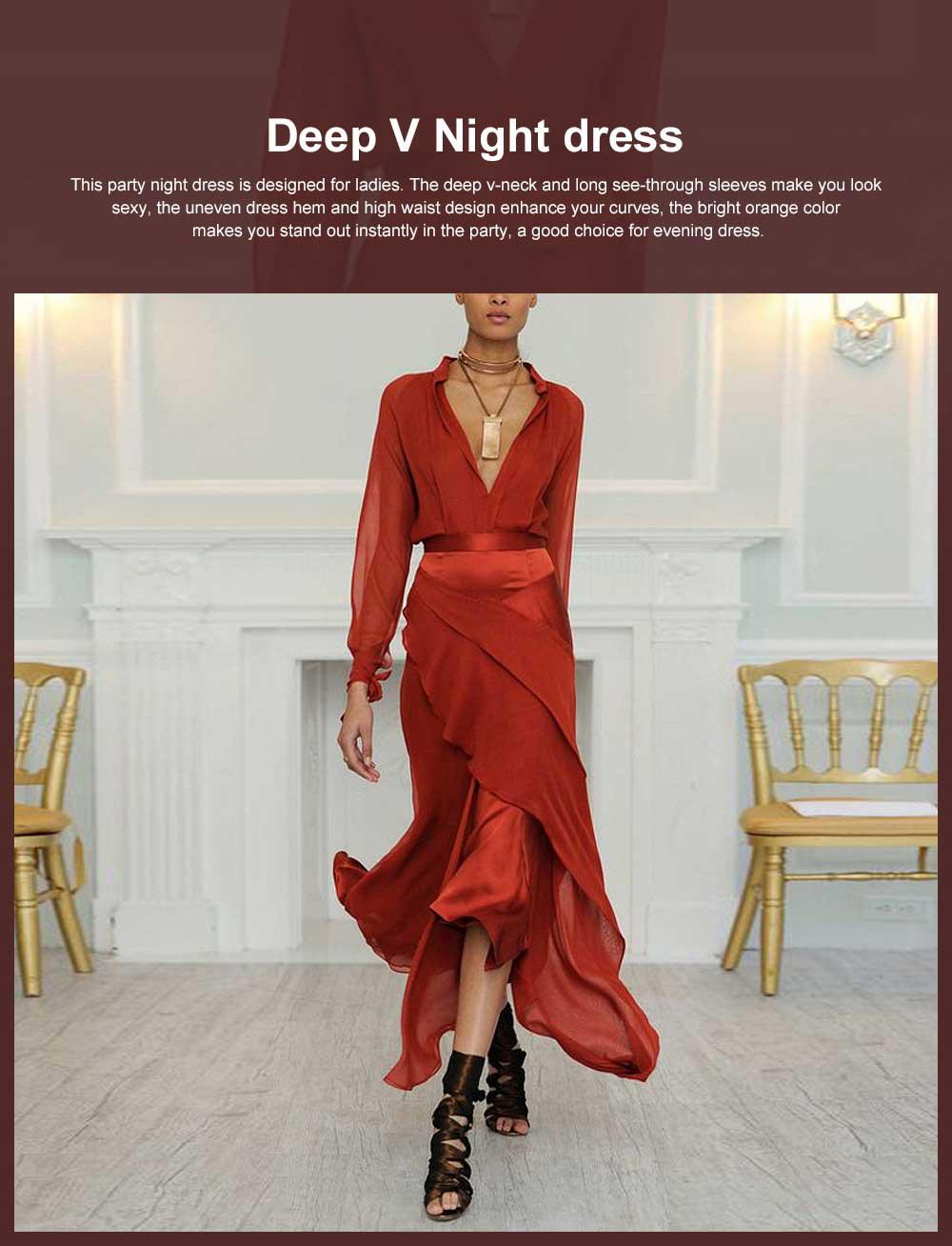 Party Night Dress for Women, Sexy Deep V-neck Long Sleeve Evening Maxi Dress 0