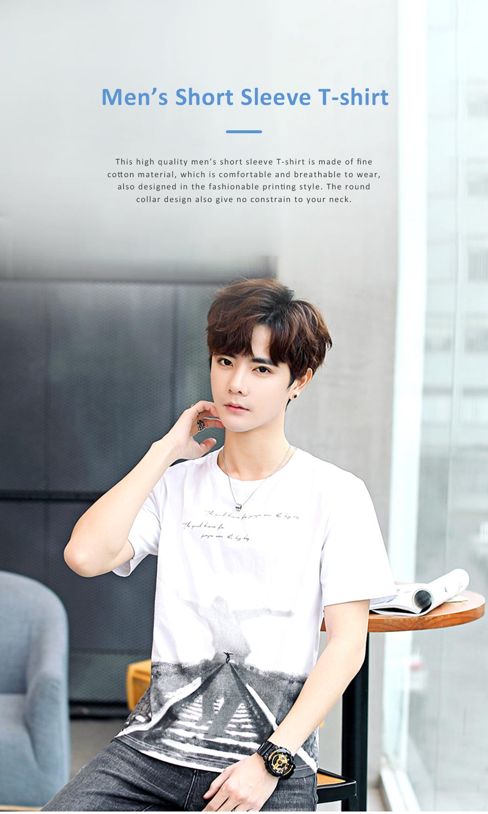 2019 New Style Casual Men's Short Sleeve T-shirt with Round Collar, Fashionable and Durable Cotton Material Top 0