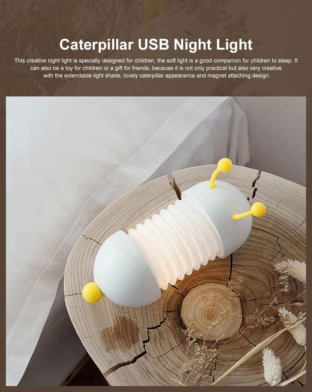 Creative USB LED Rechargeable Wall Lamp with Soft Light, Caterpillar Night Light for Children to Sleep Restful. 0
