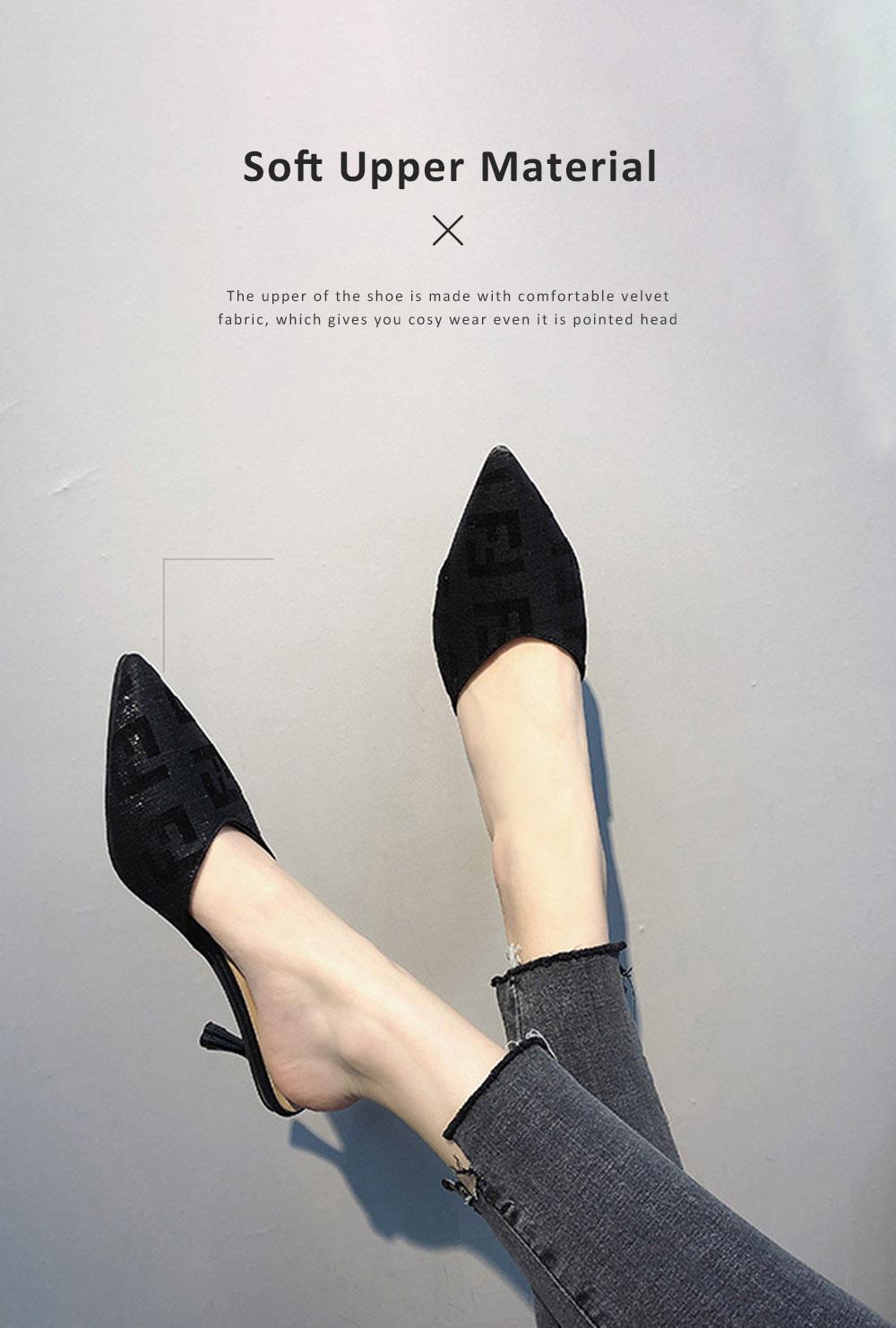 Women Closed-Toe Shoe Soft Velvet Solid Rubber Slippery Medium Heel Letter Sandals 2