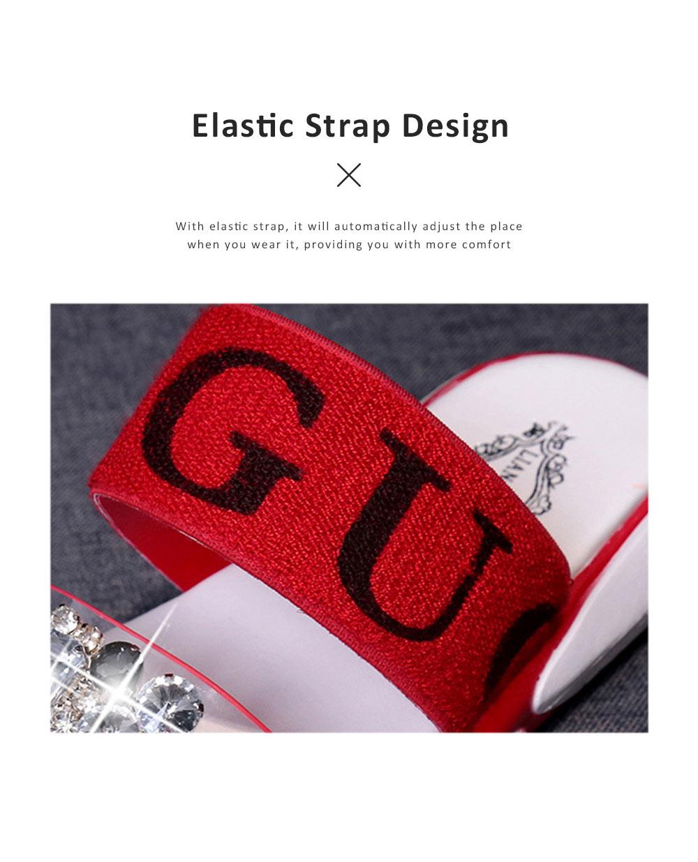 Women Summer Flat Slippery PU Rubber Comfortable Shoe Clear Diamond Elastic Strap Platform Shoe 3