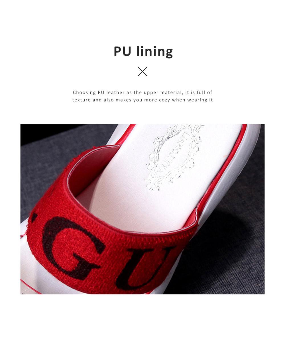 Women Summer Flat Slippery PU Rubber Comfortable Shoe Clear Diamond Elastic Strap Platform Shoe 5
