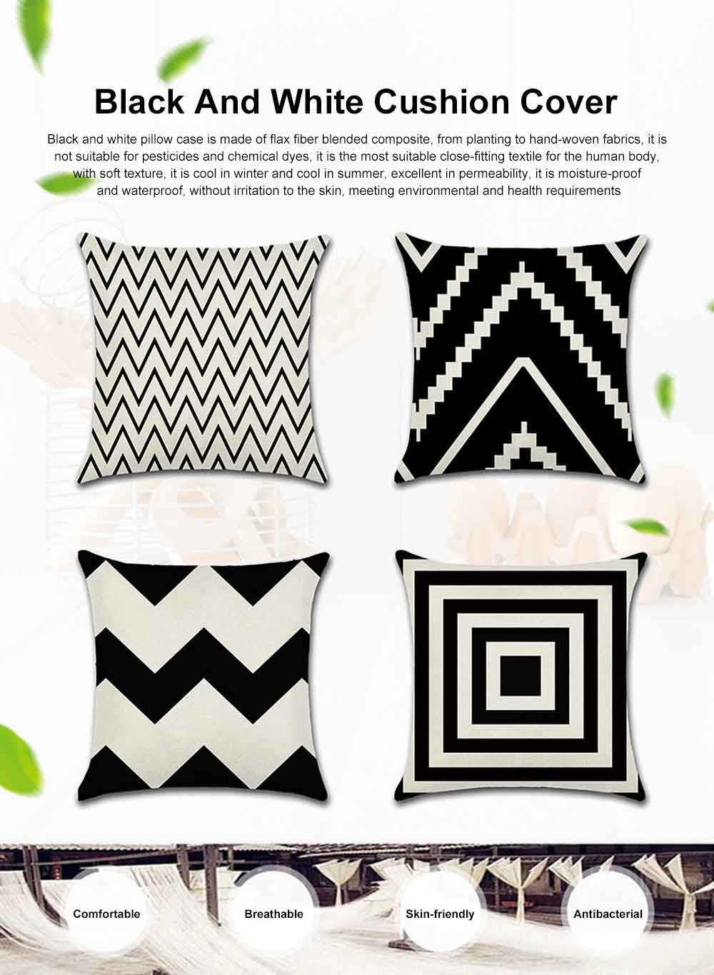 Geometric Cushion Cover Black And White Polyester Throw Pillow Case Striped Dotted Grid Triangular Geometric Art Cushion Cover 0