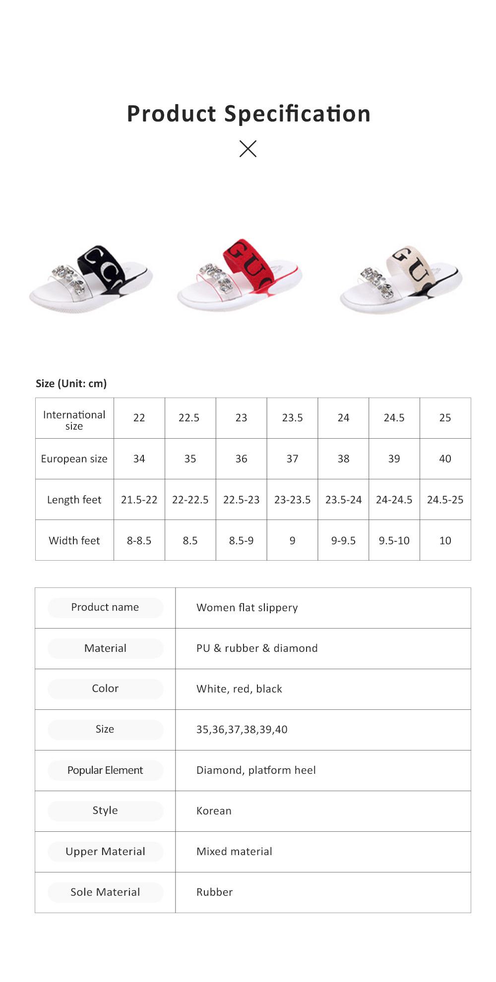Women Summer Flat Slippery PU Rubber Comfortable Shoe Clear Diamond Elastic Strap Platform Shoe 7