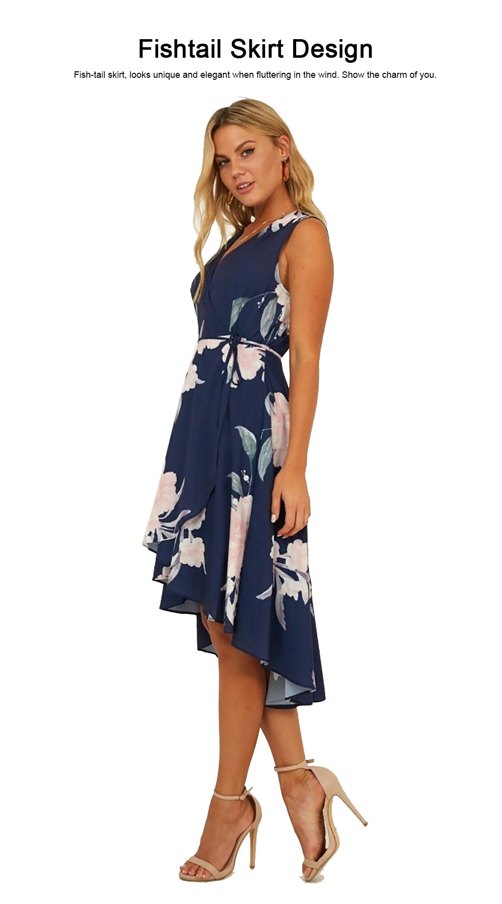 Women V Neck Beach Dress, Ruffle Fishtail Party Dress for Women Leisure Appointment 2019 3