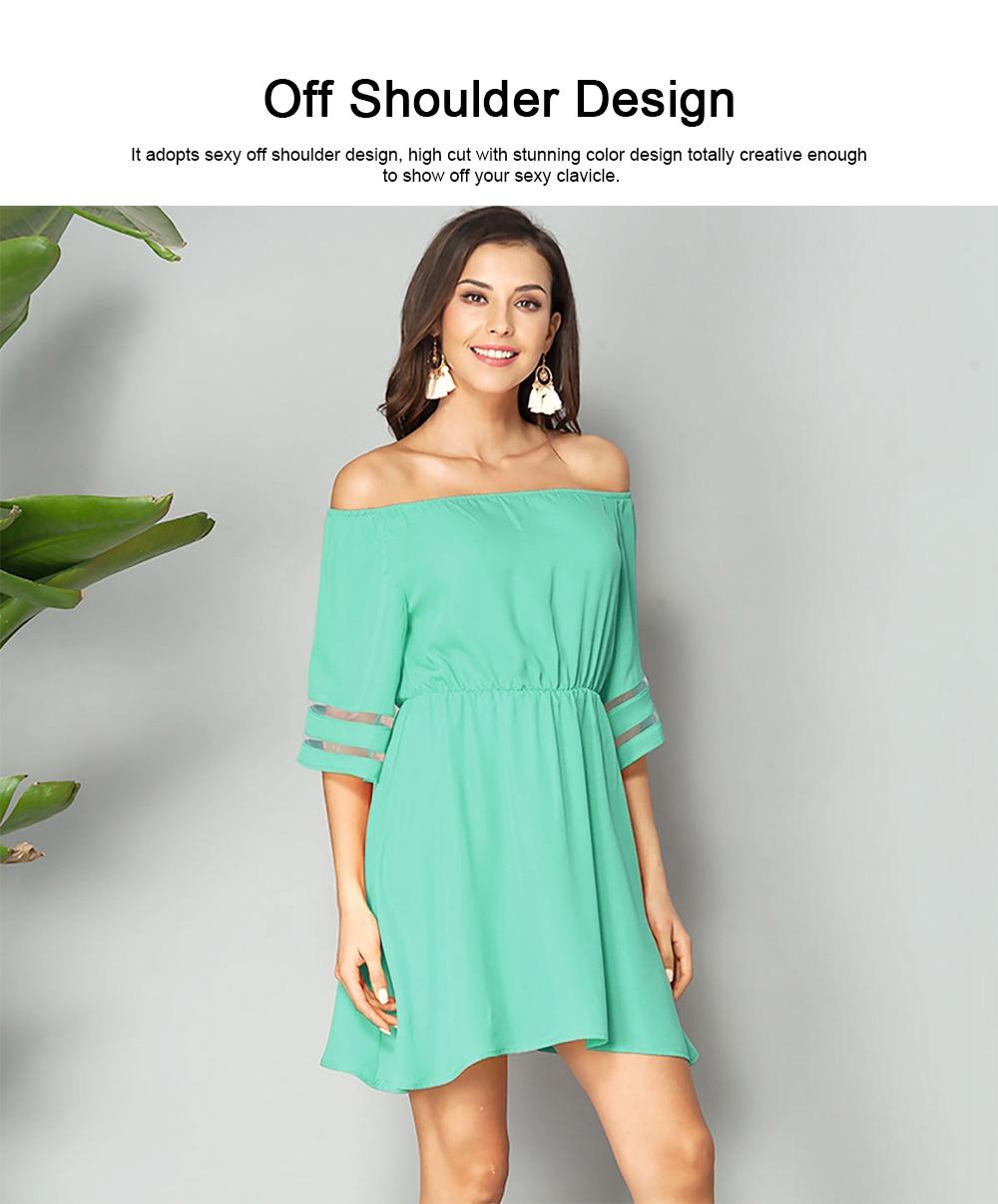 Women Off Shoulder Dress with Tight Waist, Medium Sleeves Dress, A Line Skirt Knee Skirt 1