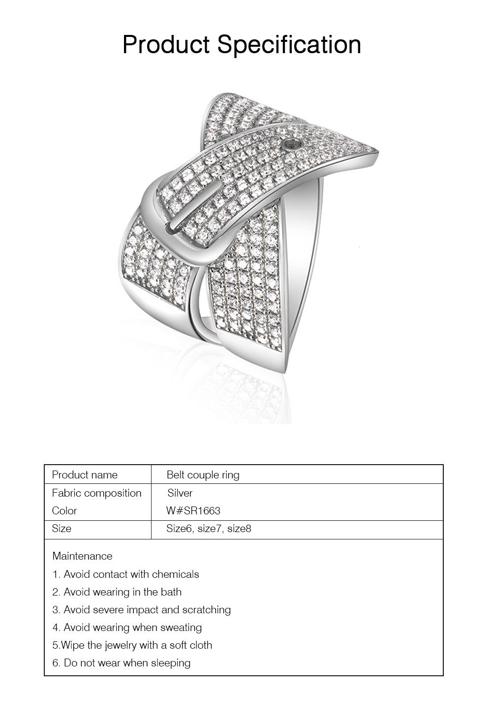 Women Men Couple New Jewelry Stone Rings 925 Silver Accessories Micro-inlay Belt Lovers Geometric 6