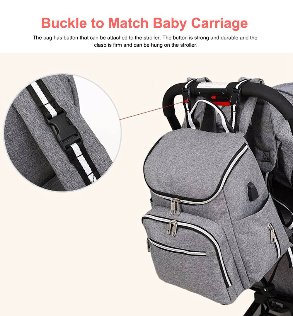 Multi-functional Diaper Backpack Large Soft Durable Capacity Backpack with USB Port for Mom & Dad 2