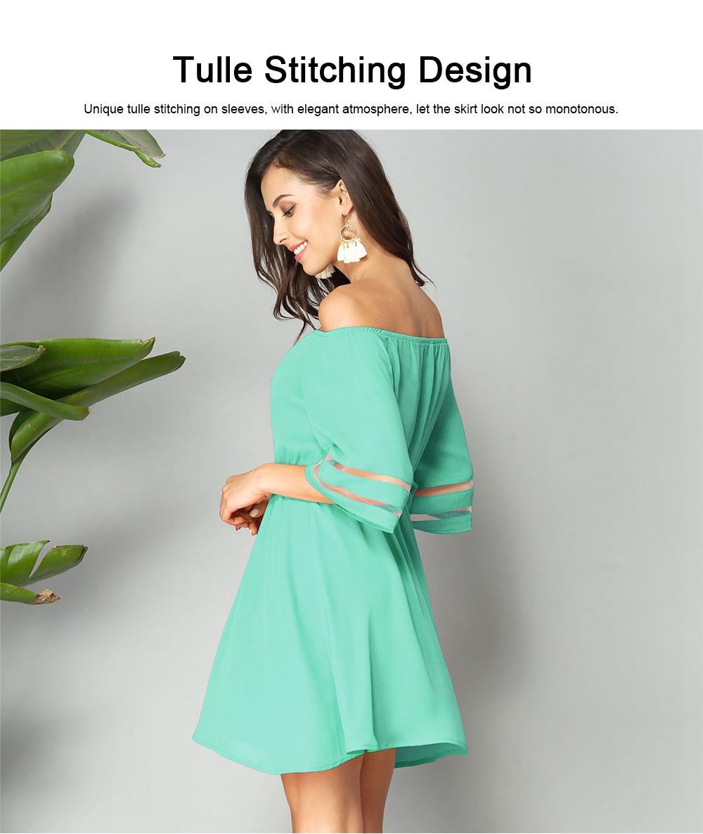 Women Off Shoulder Dress with Tight Waist, Medium Sleeves Dress, A Line Skirt Knee Skirt 3