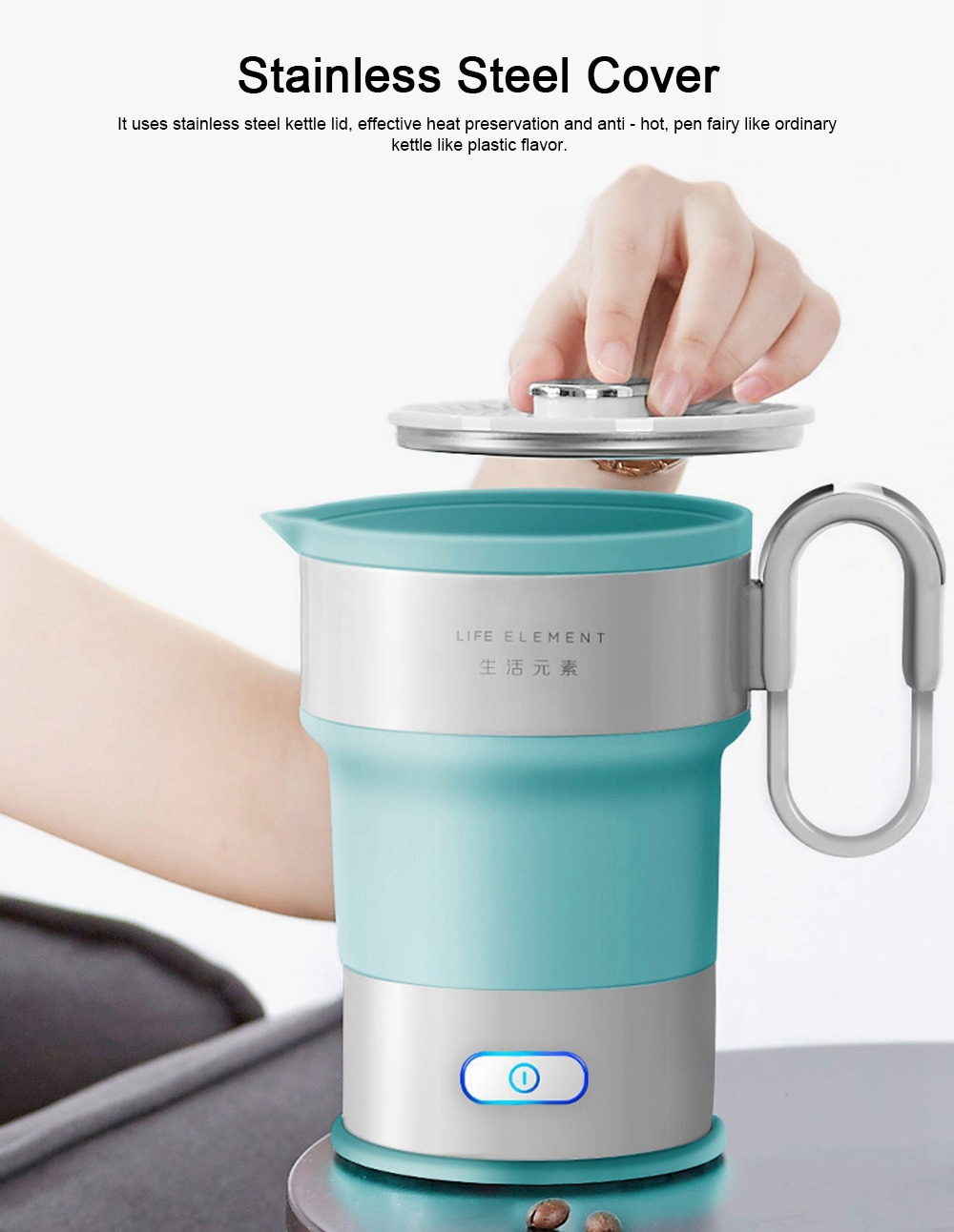 Portable Electric Compressed Kettle, Food Grade Silicone Collapsible Electric Kettle for Travel 1