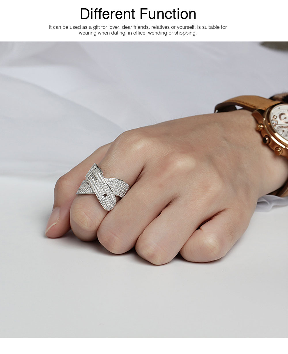 Women Men Couple New Jewelry Stone Rings 925 Silver Accessories Micro-inlay Belt Lovers Geometric 3