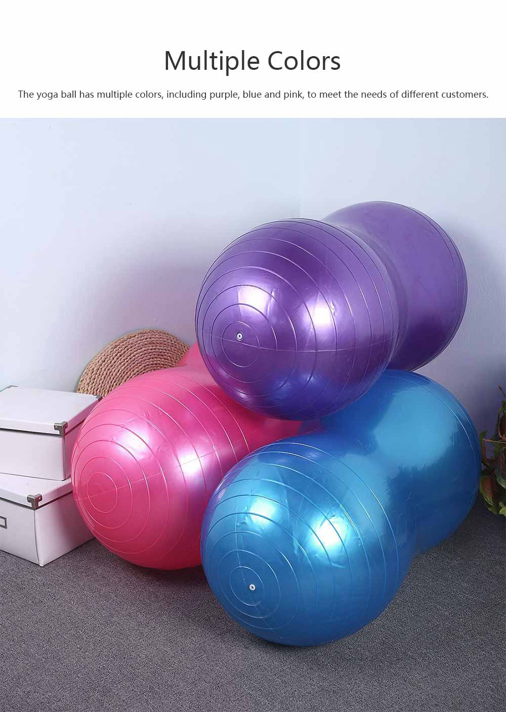 Yoga Ball PVC Material Explosion-proof Peanut Shape Training Fitness Thickness Nozzle with Pump Plug Air Pulling Massage Ball for All Ages People 6