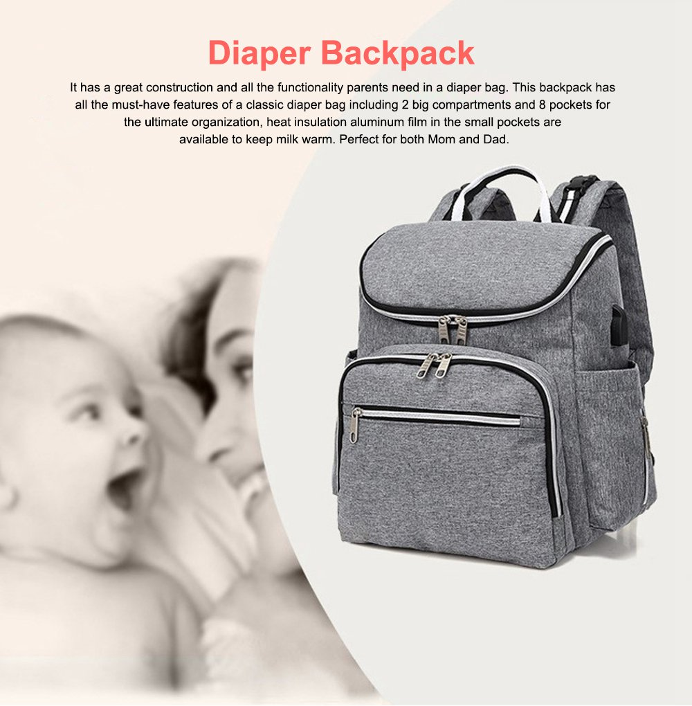 Multi-functional Diaper Backpack Large Soft Durable Capacity Backpack with USB Port for Mom & Dad 0