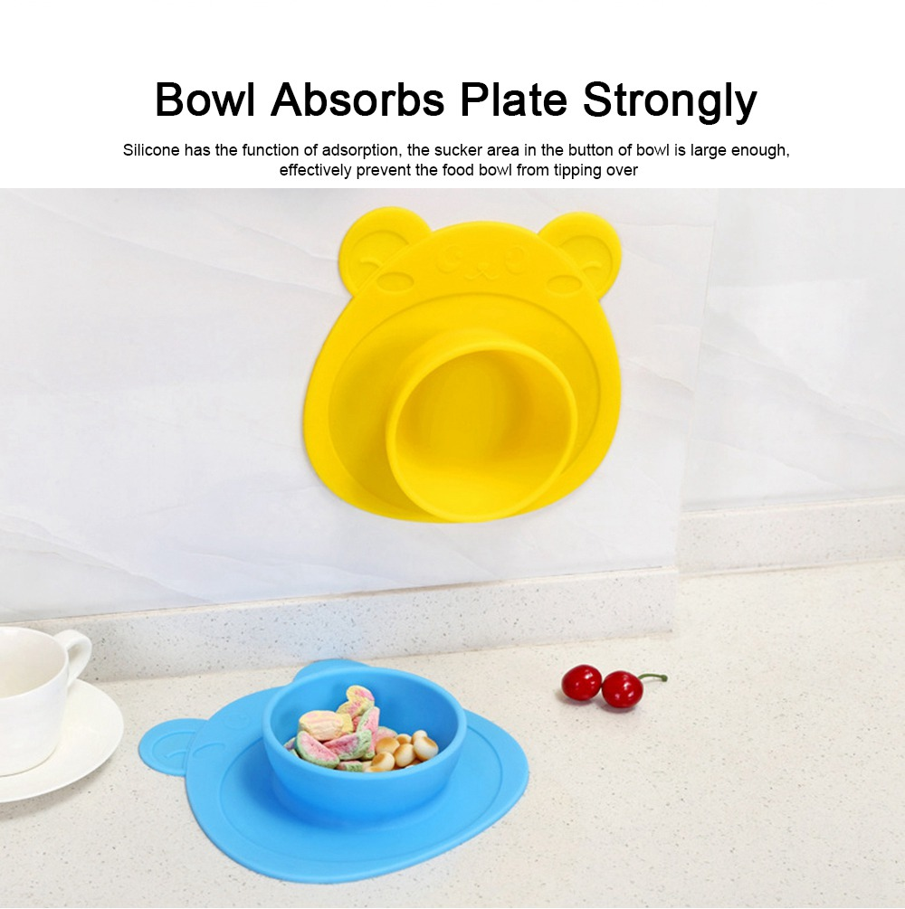 2 Pieces Silicone Suction Plates for Toddlers Food Feeding Tray for Babies and Kids Silica Gel Food Bowl 1