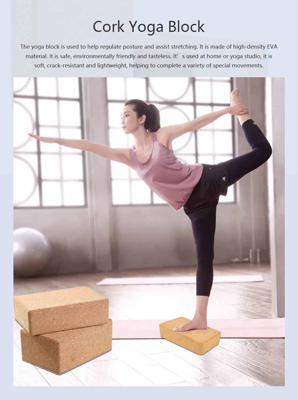 Cork Yoga Brick EVA Non-slip Training Tile Assist for Practitioners Fitness Environment Massage Yoga Block 0