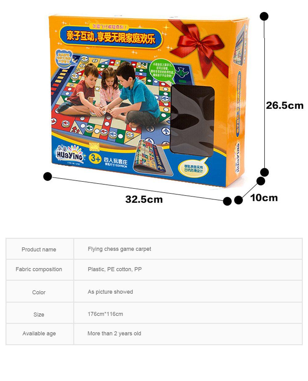 Flying Chess Carpet Desktop Large Flying Chess Game Pad, Chess Rug for Kid's Home Play, Soft Crawling Floor Mat for Children & Infants 6