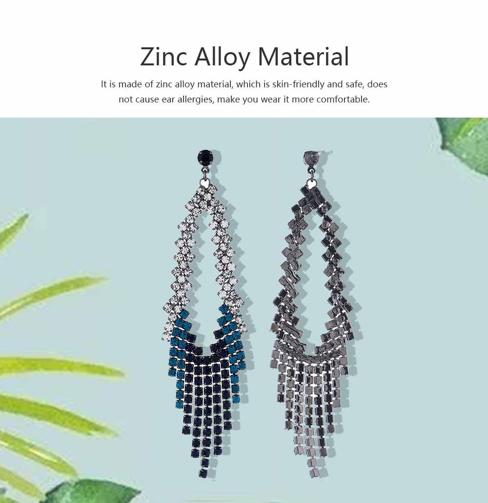 Women Tassel Earring Zinc Alloy Material Decoration Diamond Setting Process Jewelry Allergy-resistant Ear Pendant 4