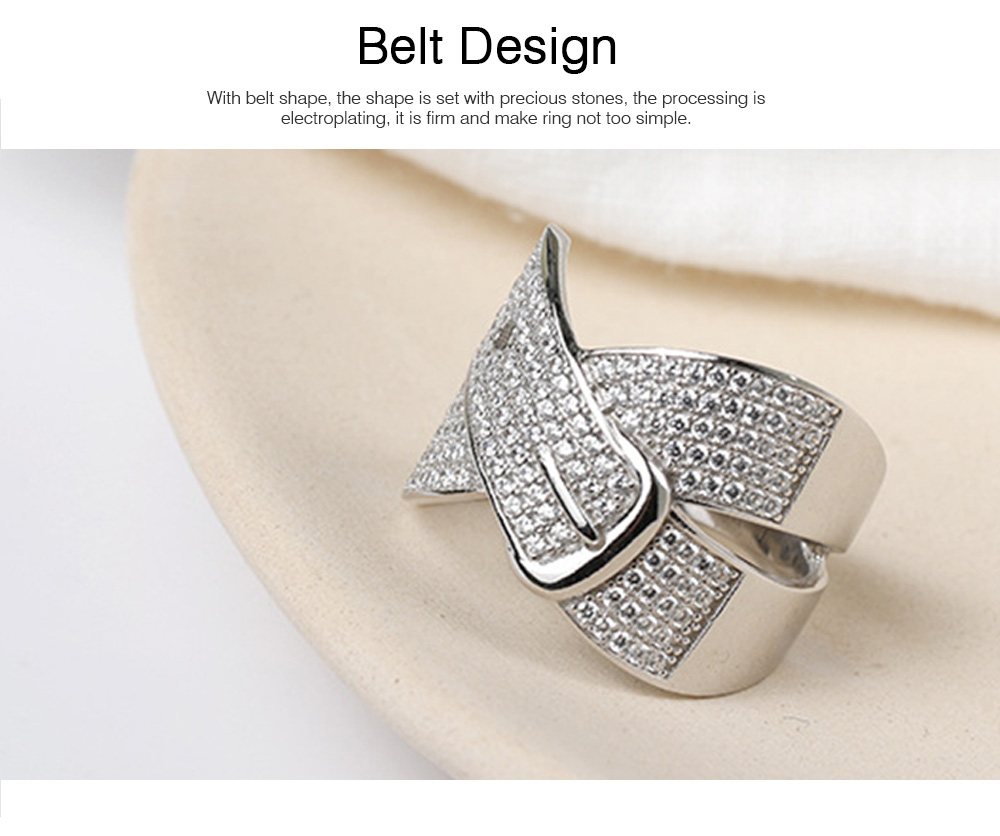 Women Men Couple New Jewelry Stone Rings 925 Silver Accessories Micro-inlay Belt Lovers Geometric 2