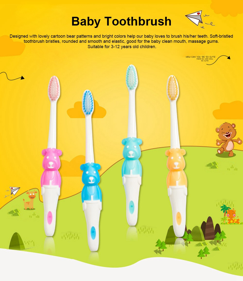 Baby Cartoon Toothbrush Children Manual Soft Bristles Teeth Cleaning Anti-slip Toothbrush  0