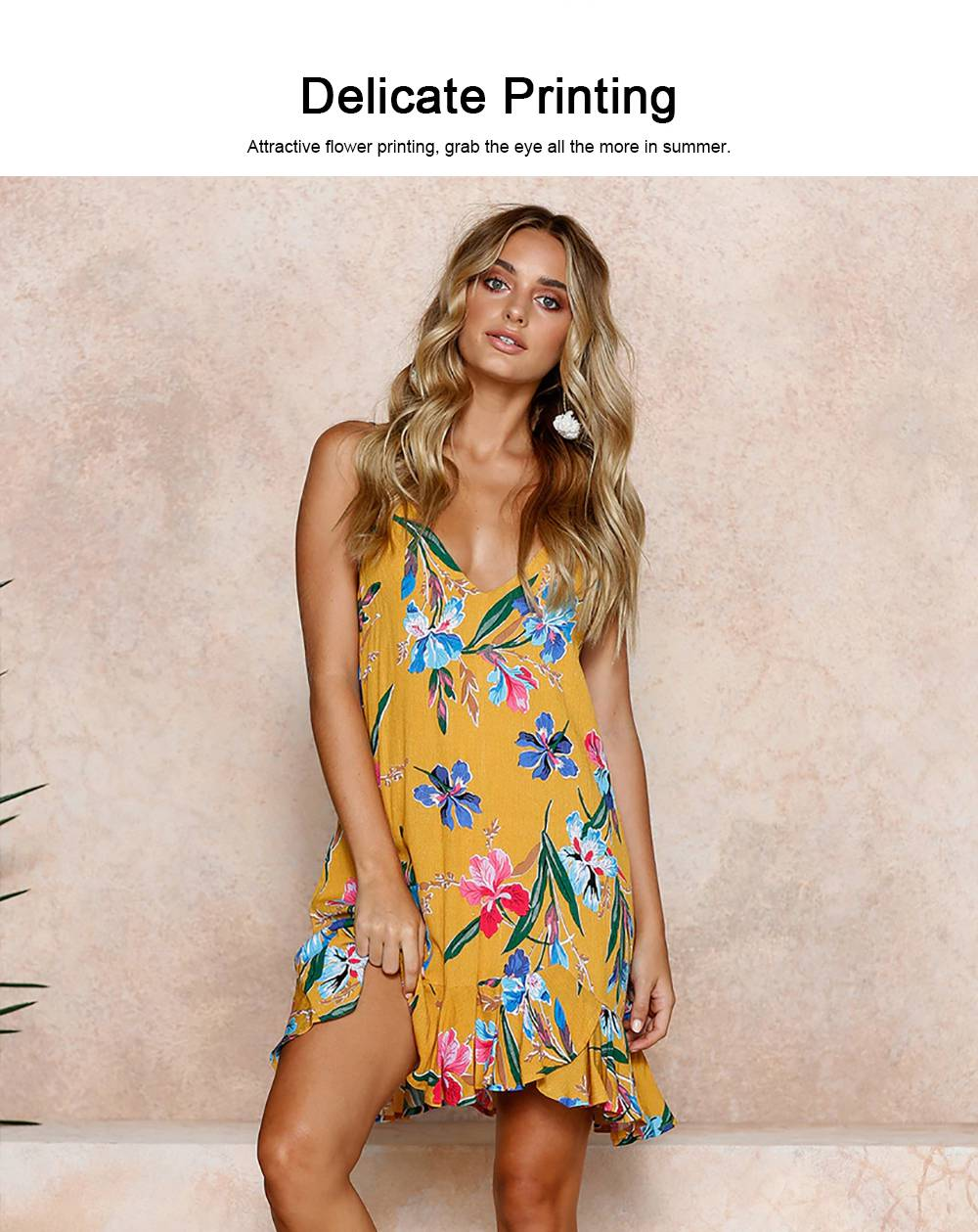 2019 Printed Dresses for Women, Women's Sleeveless Bohemian Strappy Skirt for Ladies 3