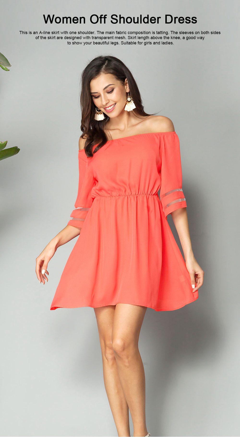 Women Off Shoulder Dress with Tight Waist, Medium Sleeves Dress, A Line Skirt Knee Skirt 0