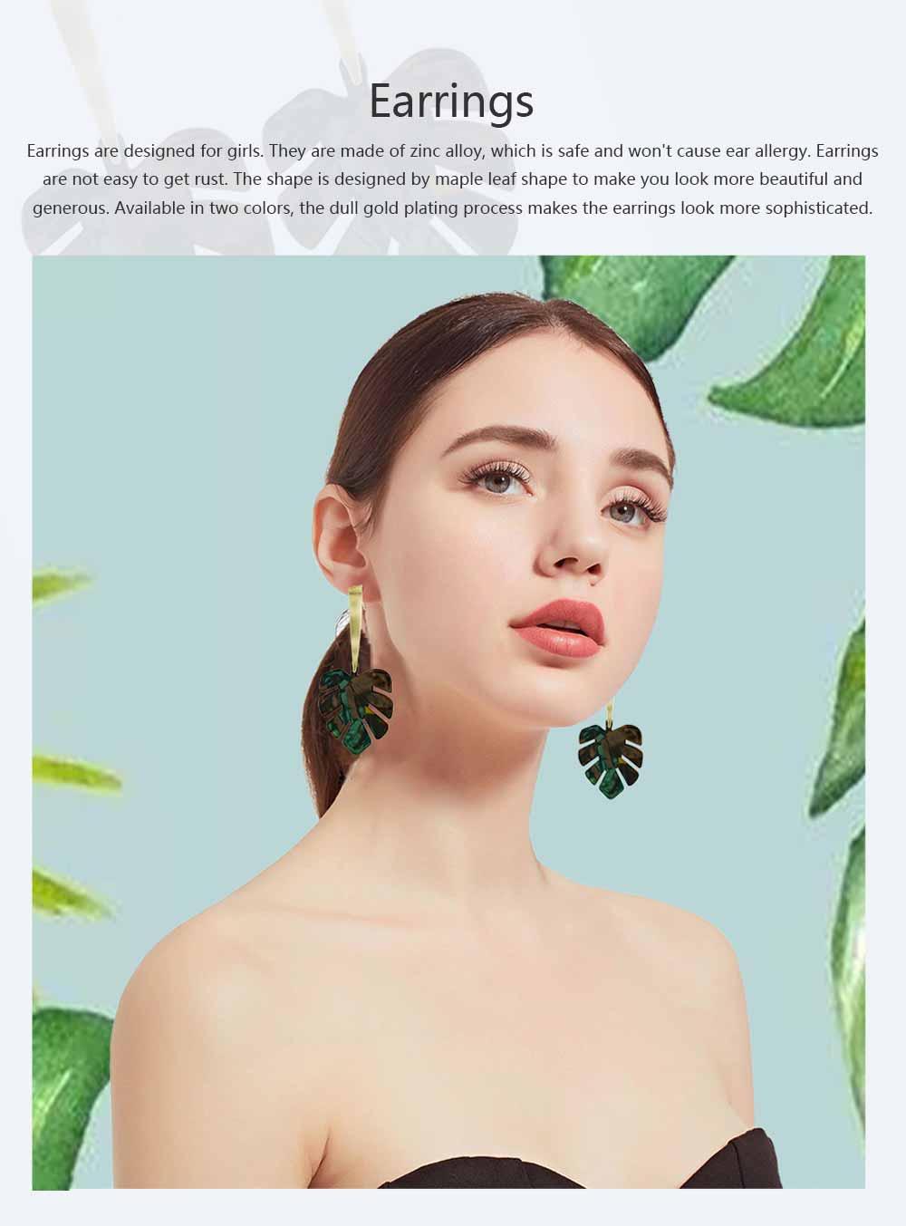 Ear-bob Zinc Alloy Material Ear Pendant Electroplating Process Maple Leaf Earring Decoration  Fashionable Earrings 0