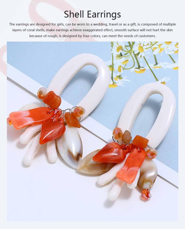 Coral Shell Earrings Plastics Zinc Alloy Material Ear Pendant Exaggerated Style Fashionable Ear Stud 0