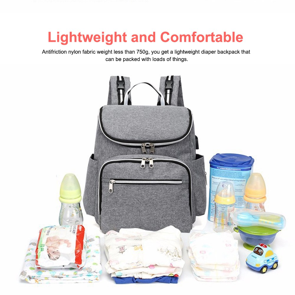 Multi-functional Diaper Backpack Large Soft Durable Capacity Backpack with USB Port for Mom & Dad 4
