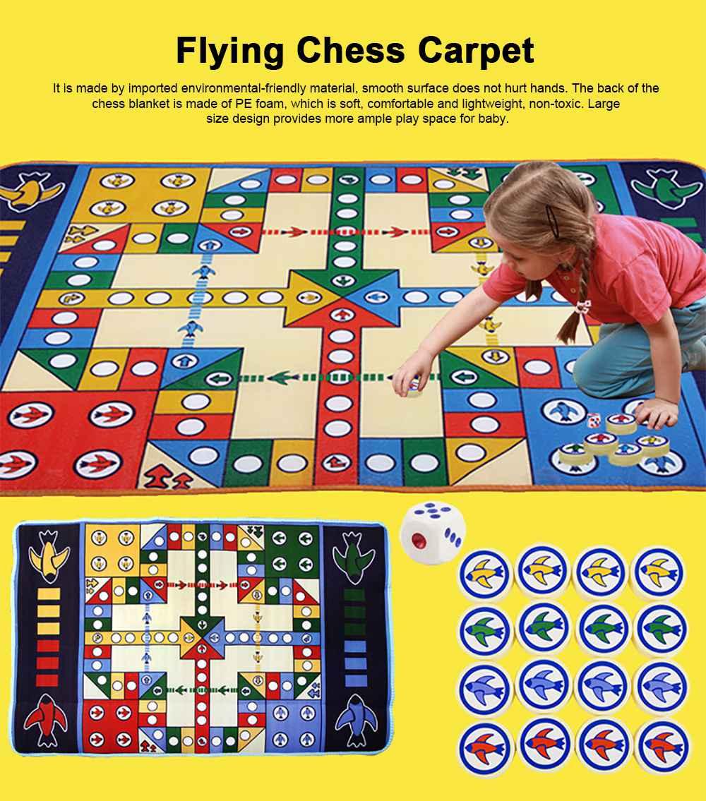 Flying Chess Carpet Desktop Large Flying Chess Game Pad, Chess Rug for Kid's Home Play, Soft Crawling Floor Mat for Children & Infants 0