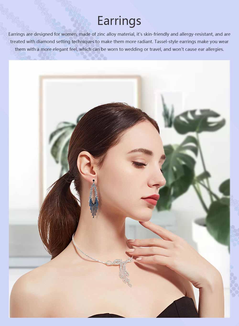 Women Tassel Earring Zinc Alloy Material Decoration Diamond Setting Process Jewelry Allergy-resistant Ear Pendant 0