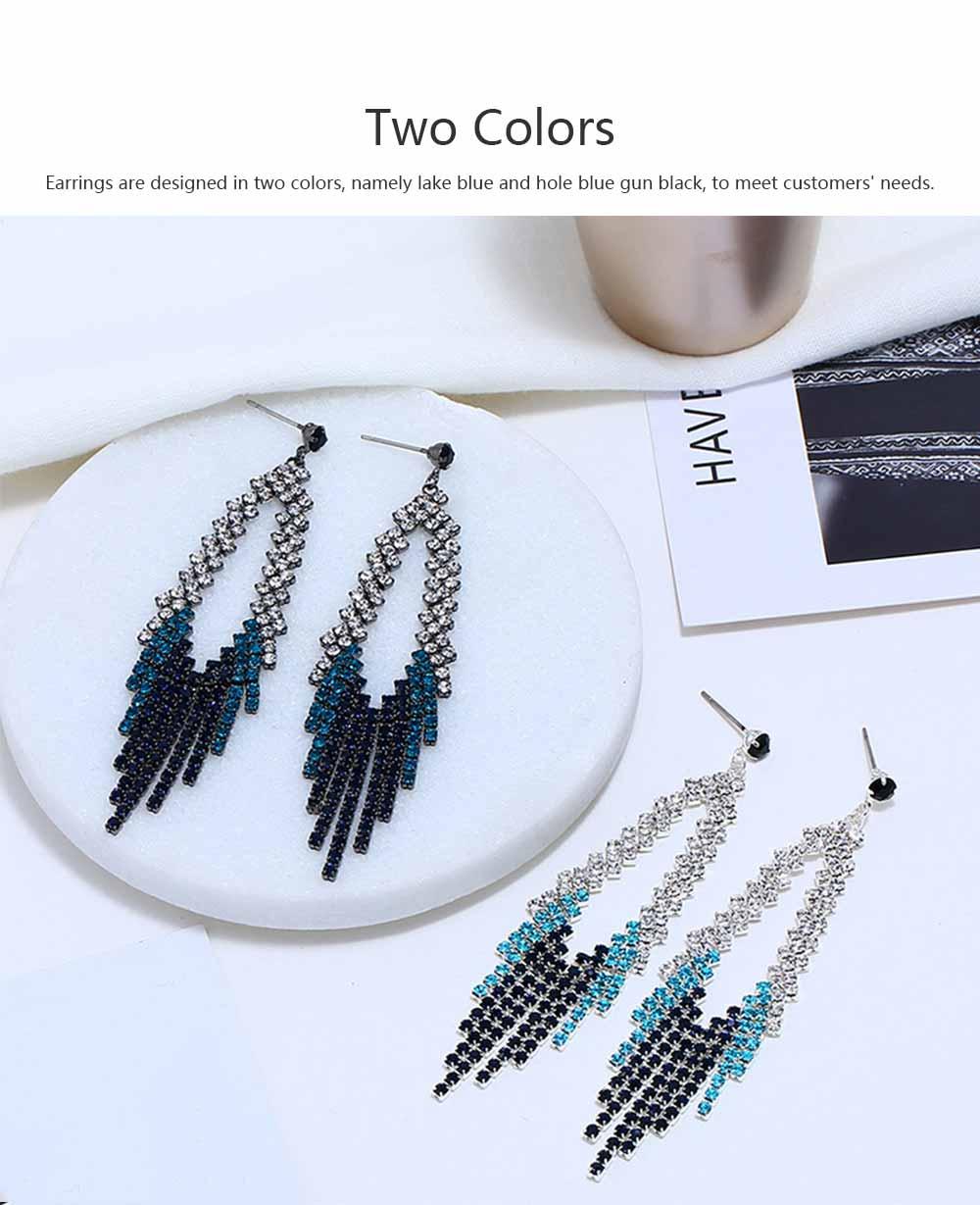 Women Tassel Earring Zinc Alloy Material Decoration Diamond Setting Process Jewelry Allergy-resistant Ear Pendant 2