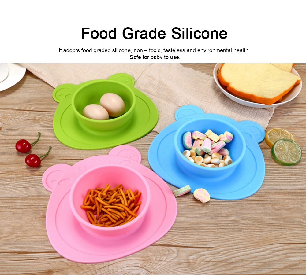 2 Pieces Silicone Suction Plates for Toddlers Food Feeding Tray for Babies and Kids Silica Gel Food Bowl 3