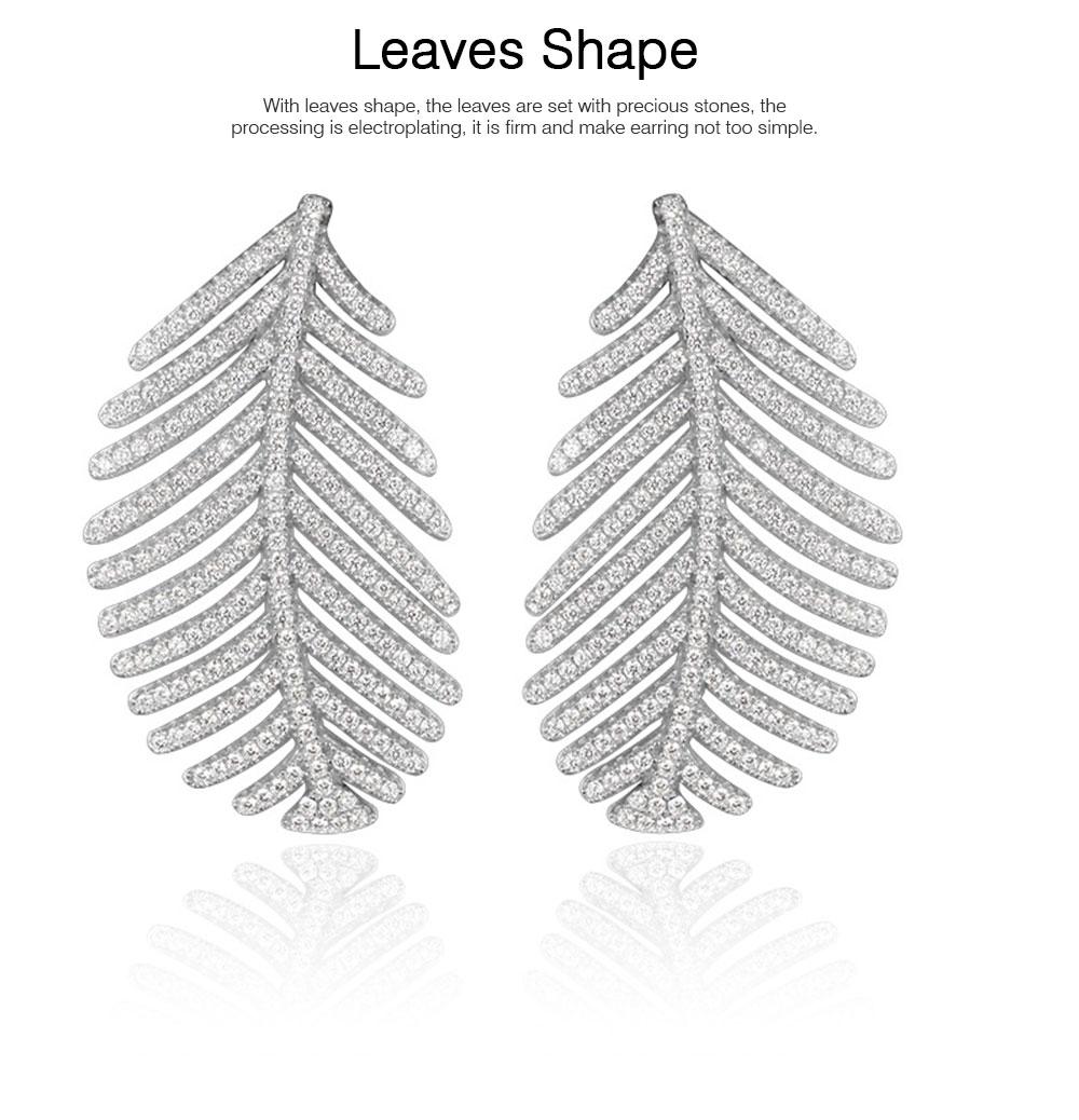 Sparkling Diamond Leaves Stud Earring 925 Pure Silver Simple Little Fresh Sweet Earrings Korean Design Stud 2019 New Earrings 2