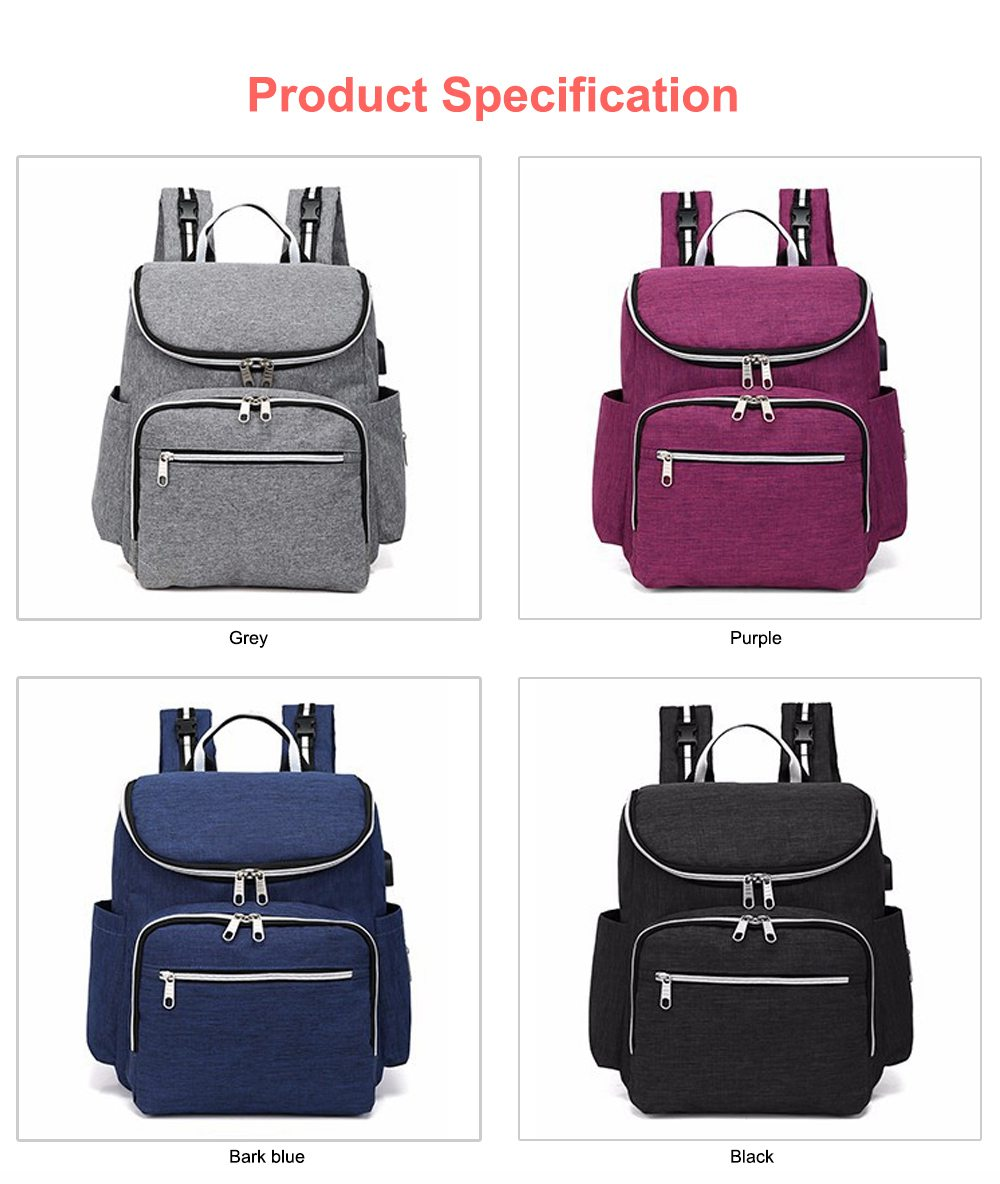 Multi-functional Diaper Backpack Large Soft Durable Capacity Backpack with USB Port for Mom & Dad 9