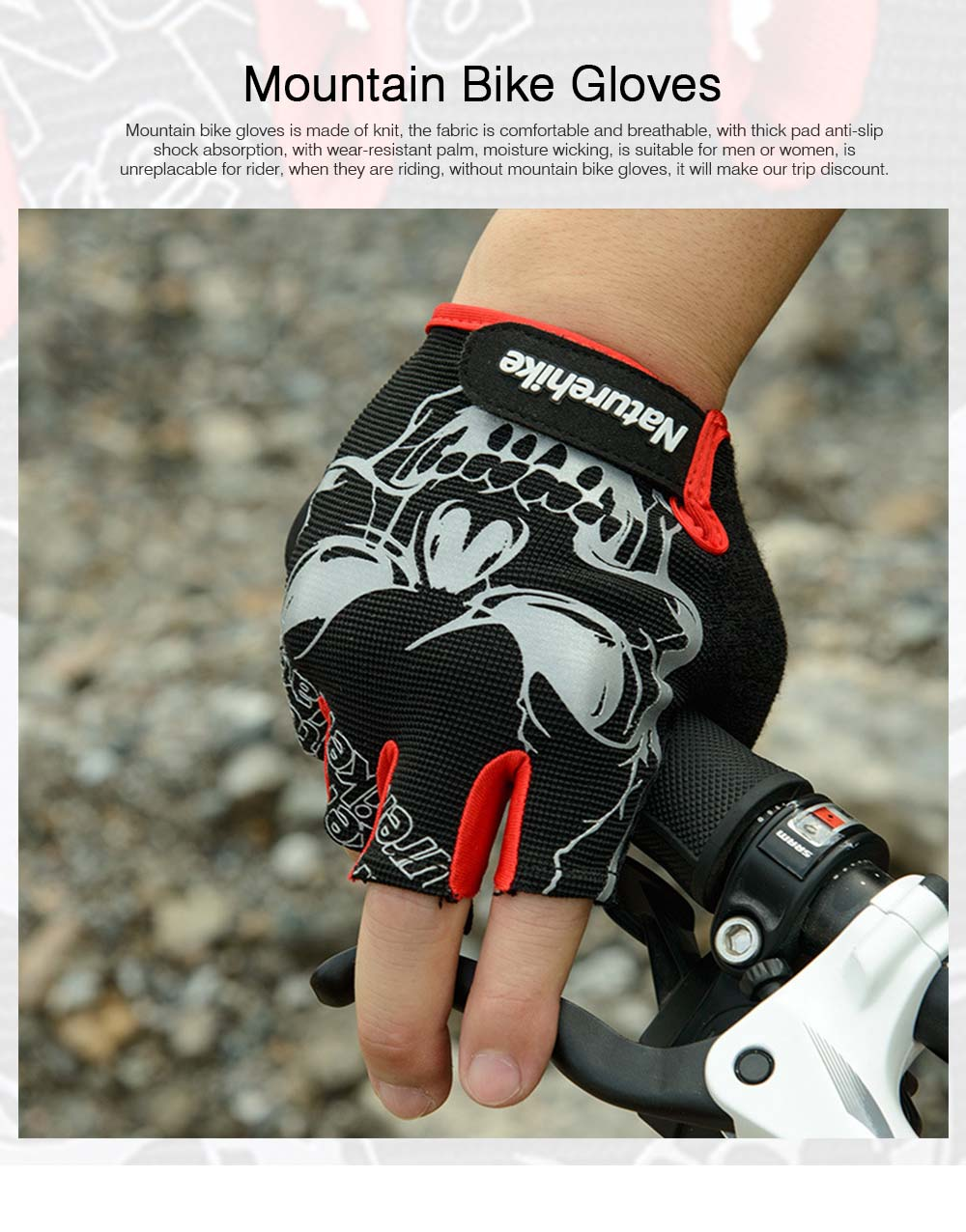 Men Women Outdoor Comfortable Sports Bicycle Cycling Gloves Half Finger Breathable Non-slip Soft Shockproof Mountain Bike Gloves 0