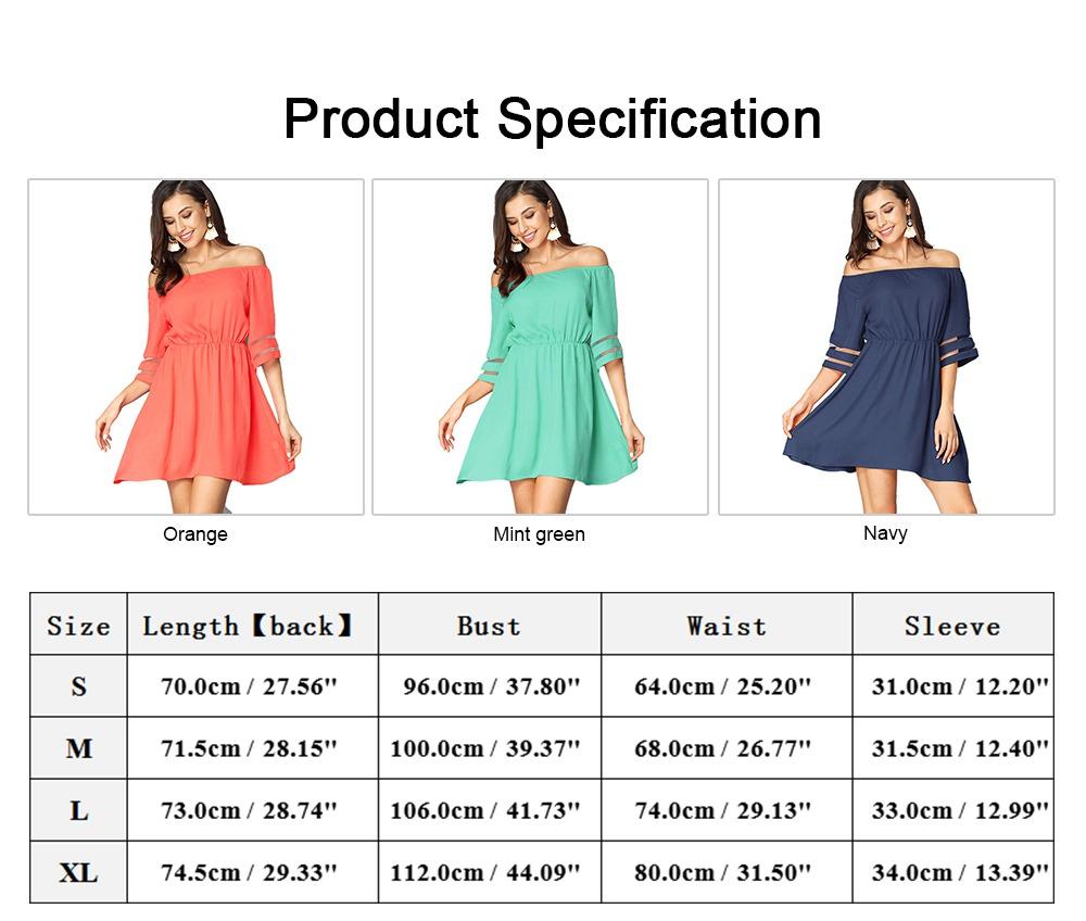 Women Off Shoulder Dress with Tight Waist, Medium Sleeves Dress, A Line Skirt Knee Skirt 5
