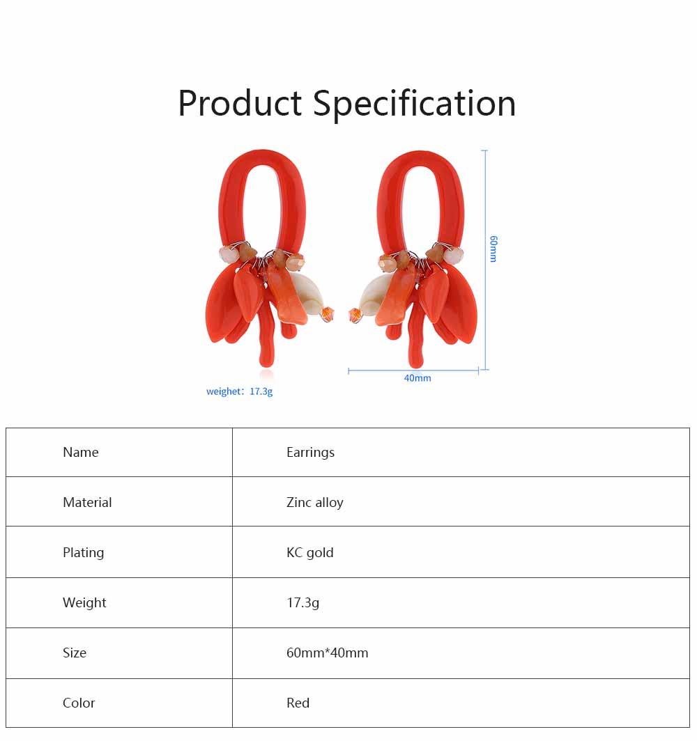 Coral Shell Earrings Plastics Zinc Alloy Material Ear Pendant Exaggerated Style Fashionable Ear Stud 6