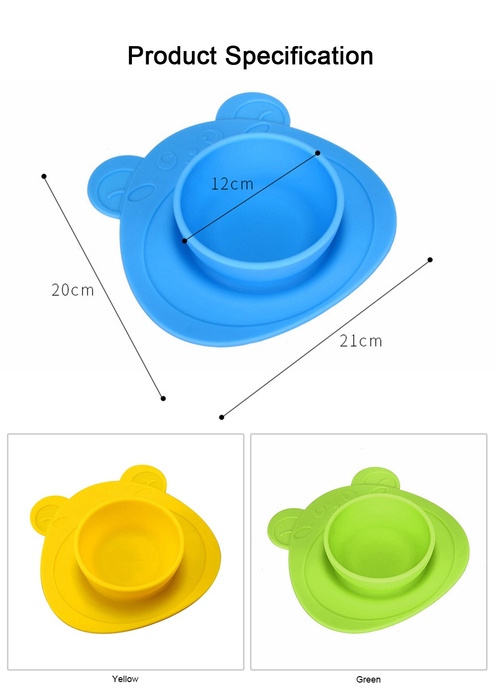 2 Pieces Silicone Suction Plates for Toddlers Food Feeding Tray for Babies and Kids Silica Gel Food Bowl 5