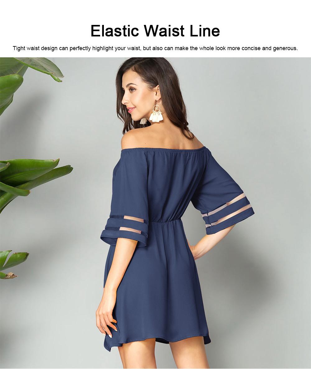 Women Off Shoulder Dress with Tight Waist, Medium Sleeves Dress, A Line Skirt Knee Skirt 4