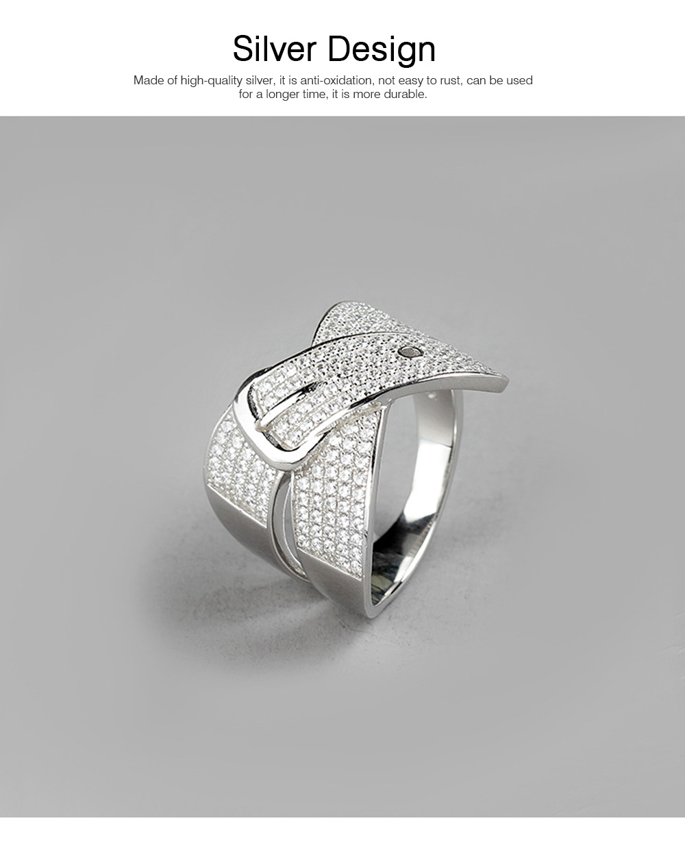 Women Men Couple New Jewelry Stone Rings 925 Silver Accessories Micro-inlay Belt Lovers Geometric 1
