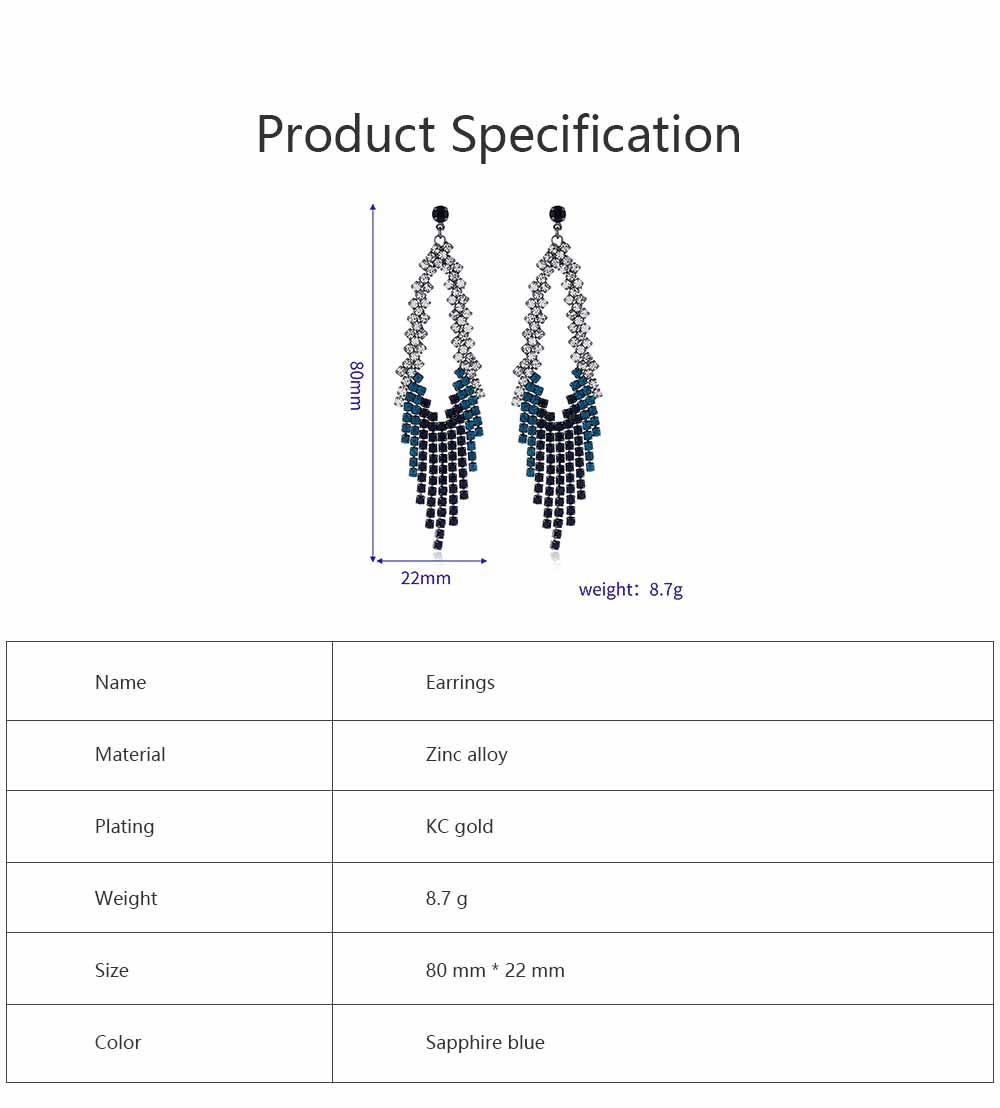 Women Tassel Earring Zinc Alloy Material Decoration Diamond Setting Process Jewelry Allergy-resistant Ear Pendant 6