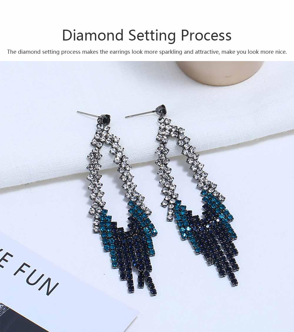 Women Tassel Earring Zinc Alloy Material Decoration Diamond Setting Process Jewelry Allergy-resistant Ear Pendant 1