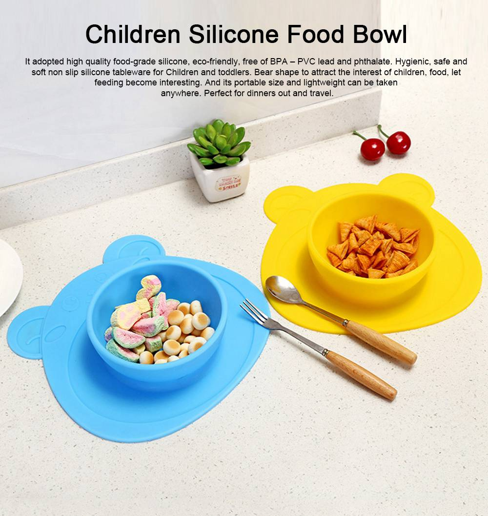 2 Pieces Silicone Suction Plates for Toddlers Food Feeding Tray for Babies and Kids Silica Gel Food Bowl 0