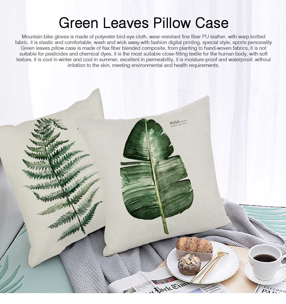 Tropical Plants Pillow Case Polyester Cushion Cover Decorative Home Car Pillow Cover Green Leaves Theme Throw Square 45*45cm 0