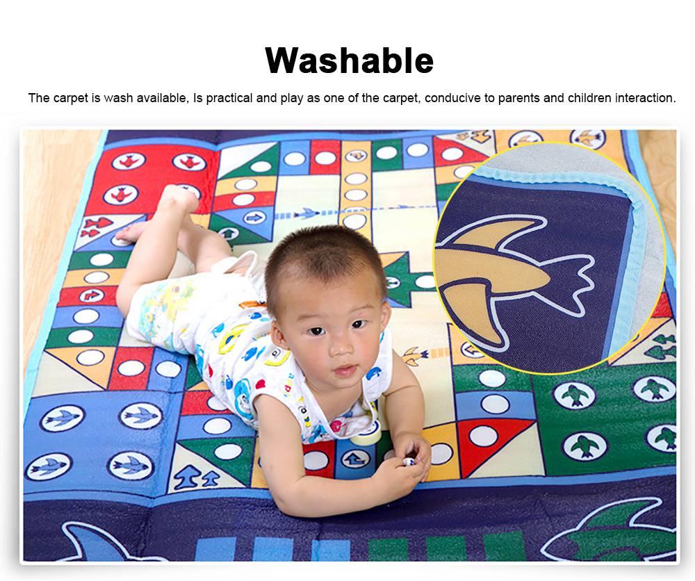 Flying Chess Carpet Desktop Large Flying Chess Game Pad, Chess Rug for Kid's Home Play, Soft Crawling Floor Mat for Children & Infants 3